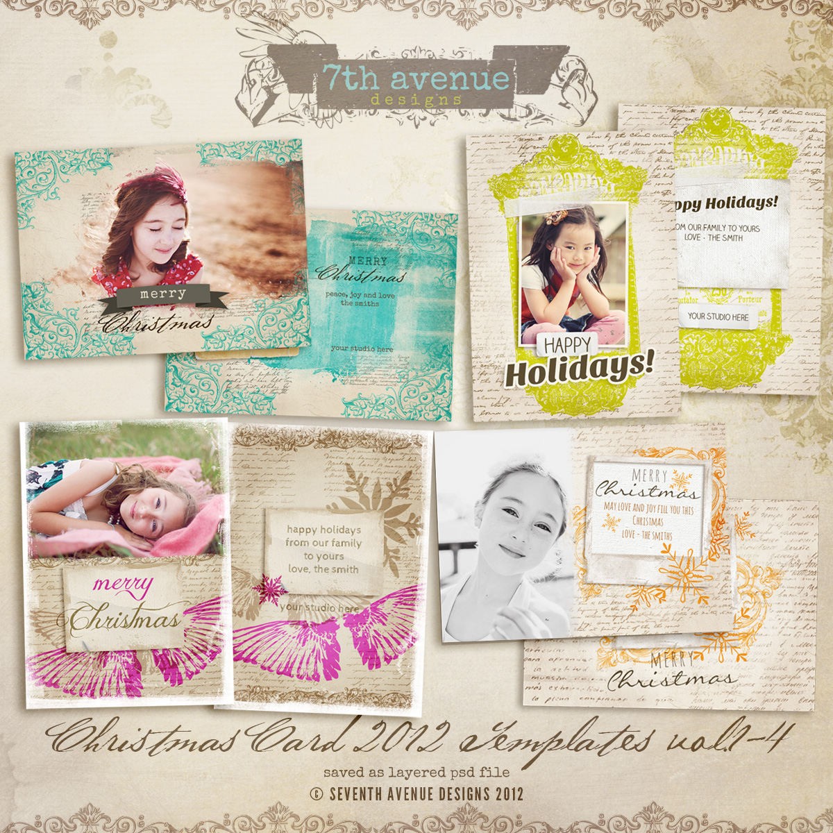 2012 Christmas Card Templates vol.1-4 -- 7x5 inch card template