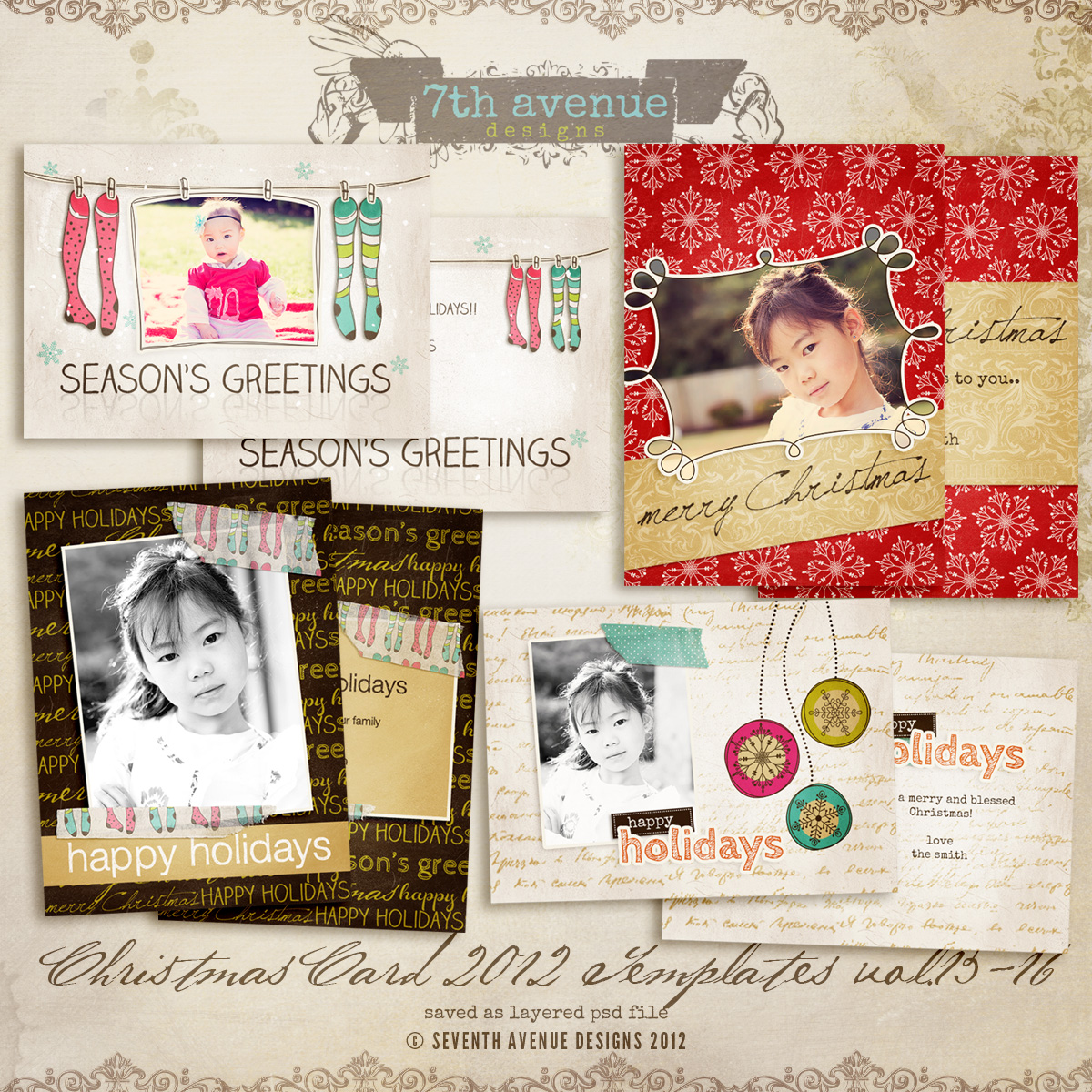 2012 Christmas Card Templates vol.13-16 - 7x5 inch card template
