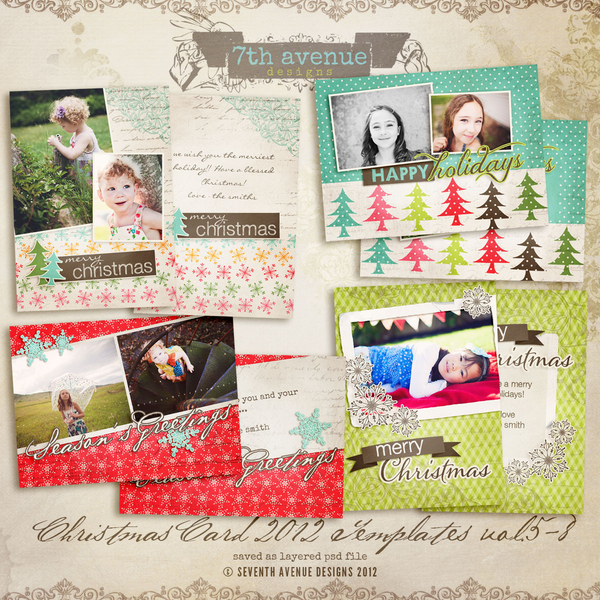 2012 Christmas Card Templates vol.5-8 -- 7x5 inch card template