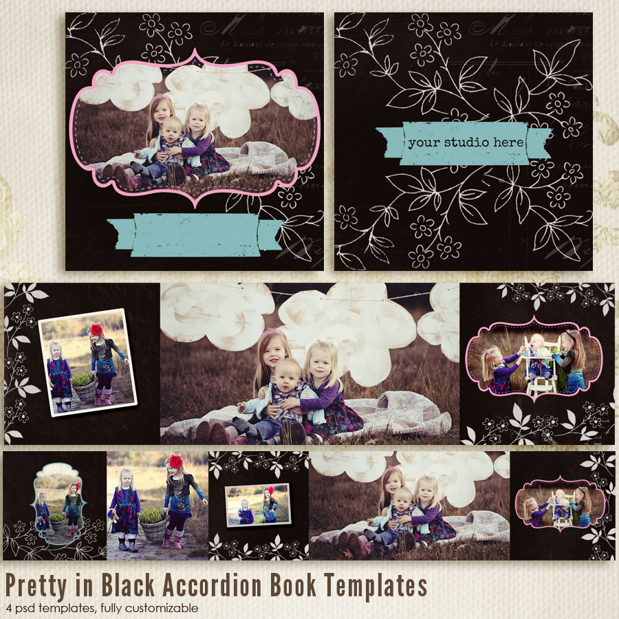 Pretty in Black 3x3 Accordion book templates
