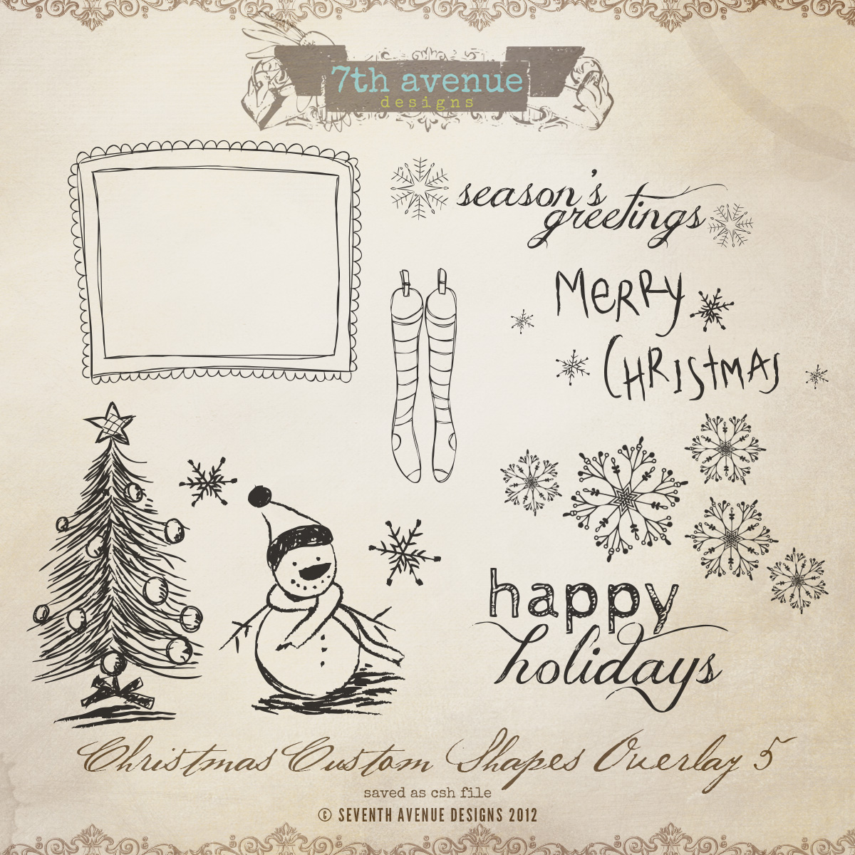 Christmas Custom Shapes Overlays vol.5