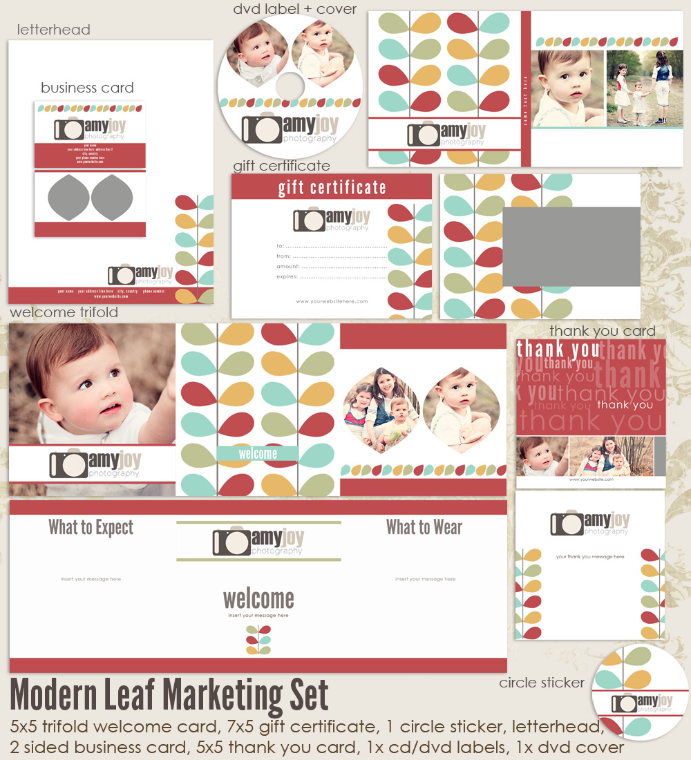 Modern Leaf Marketing Set