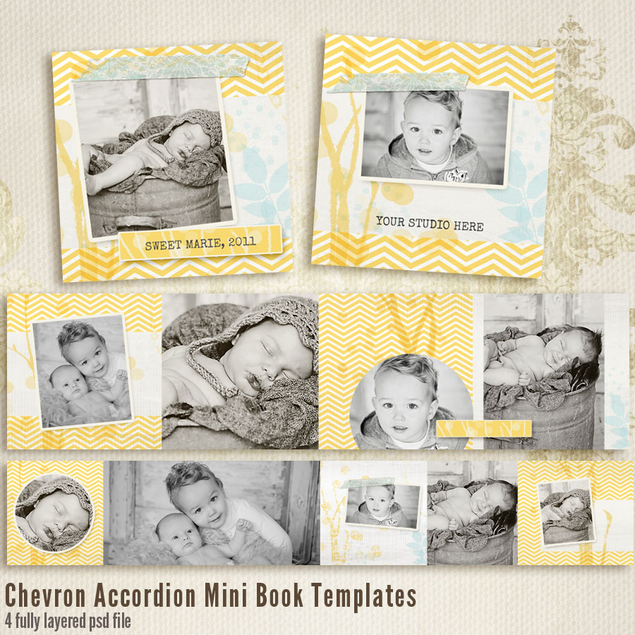 Chevron 3x3 Accordion book templates