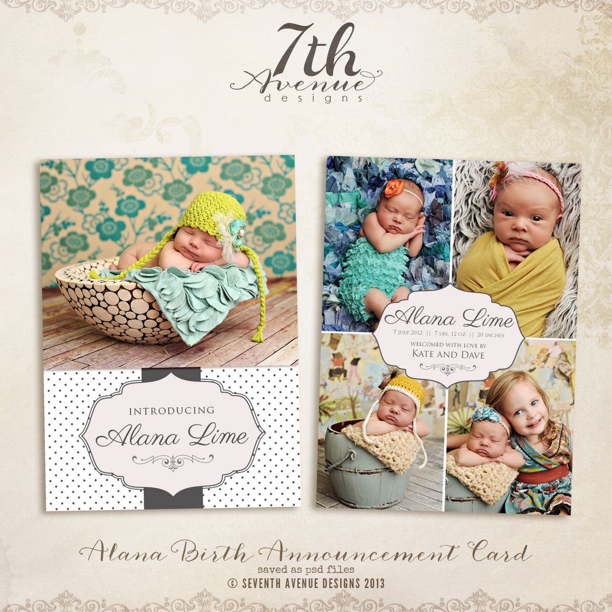Alana Birth Announcement Card Templates