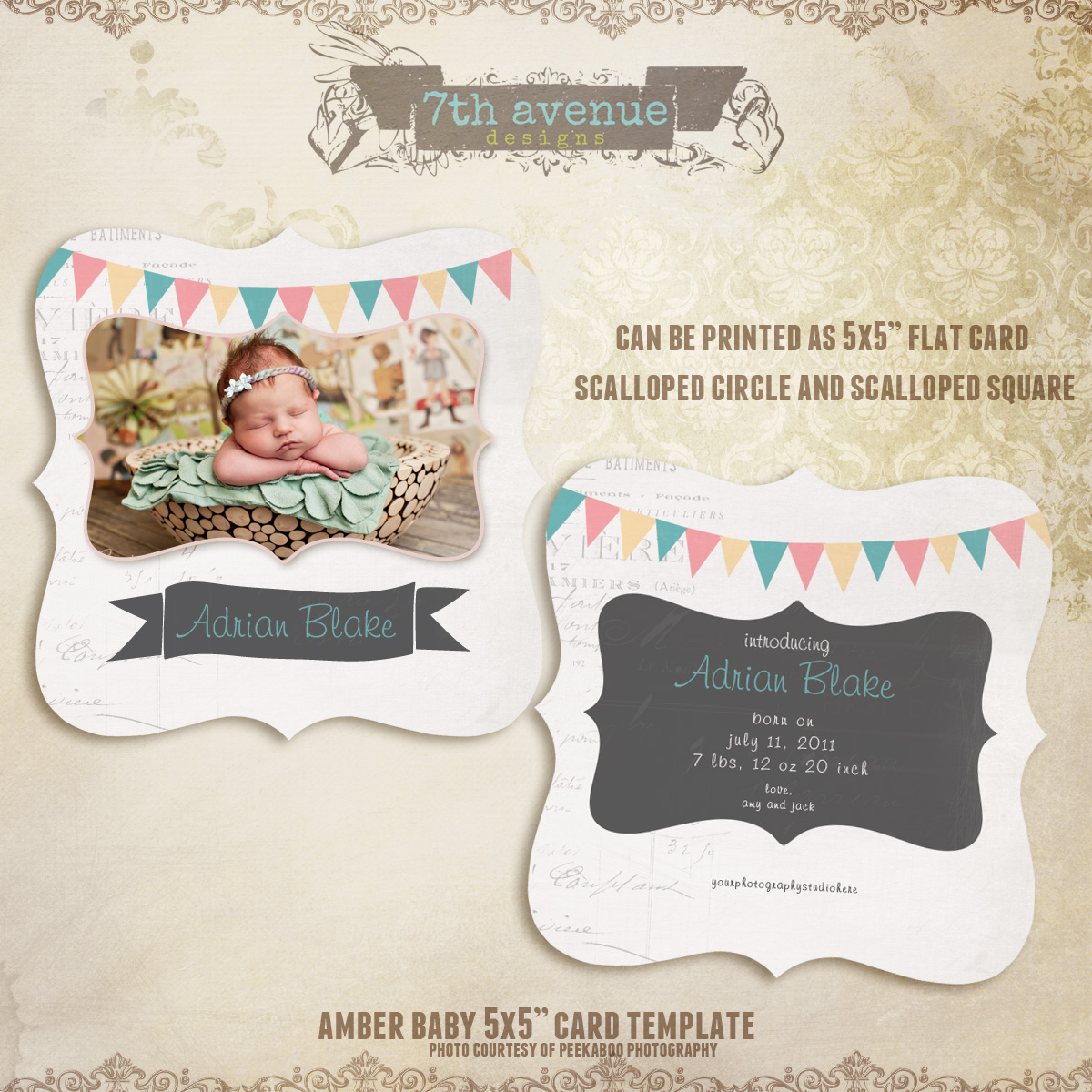 Amber Birth Announcement Card Templates
