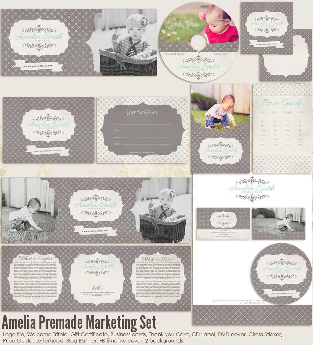 Amelia premade marketing set ms amelia 2000 7thavenue designs logo and templates for Photography marketing templates