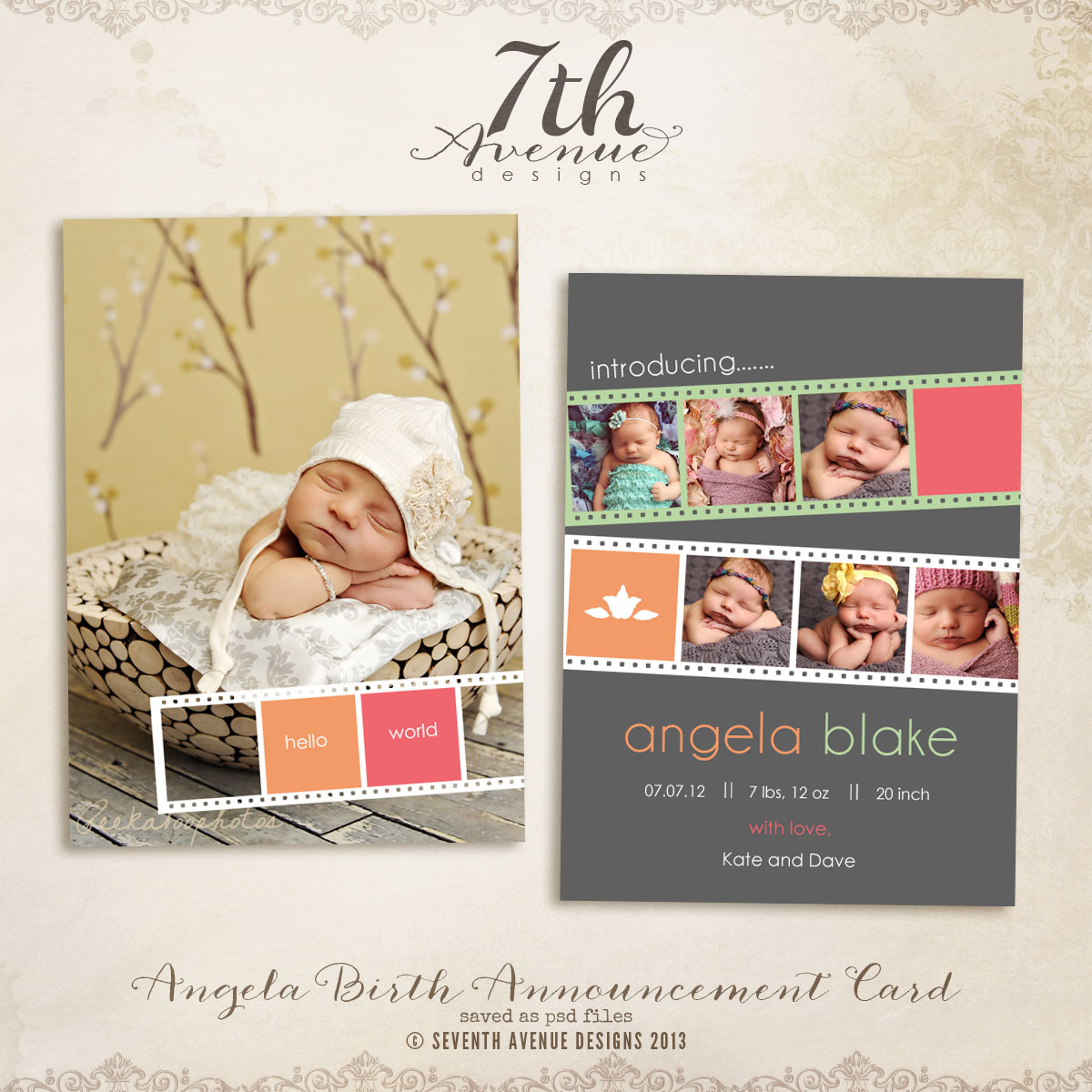 Angela Birth Announcement Card Templates