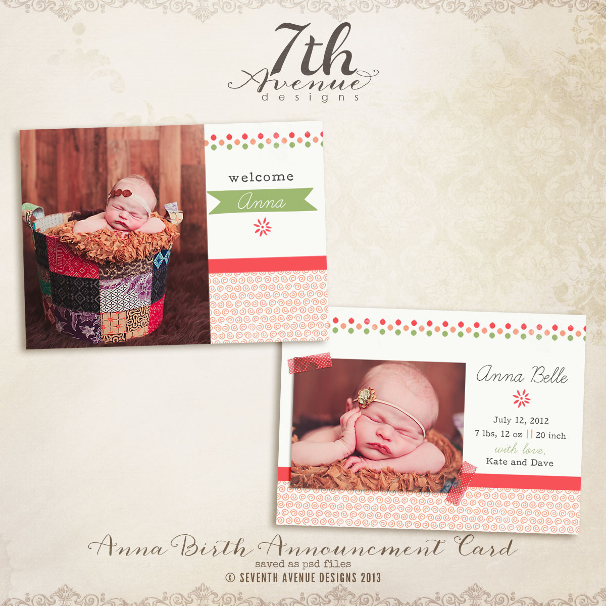 Anna Birth Announcement Card Templates
