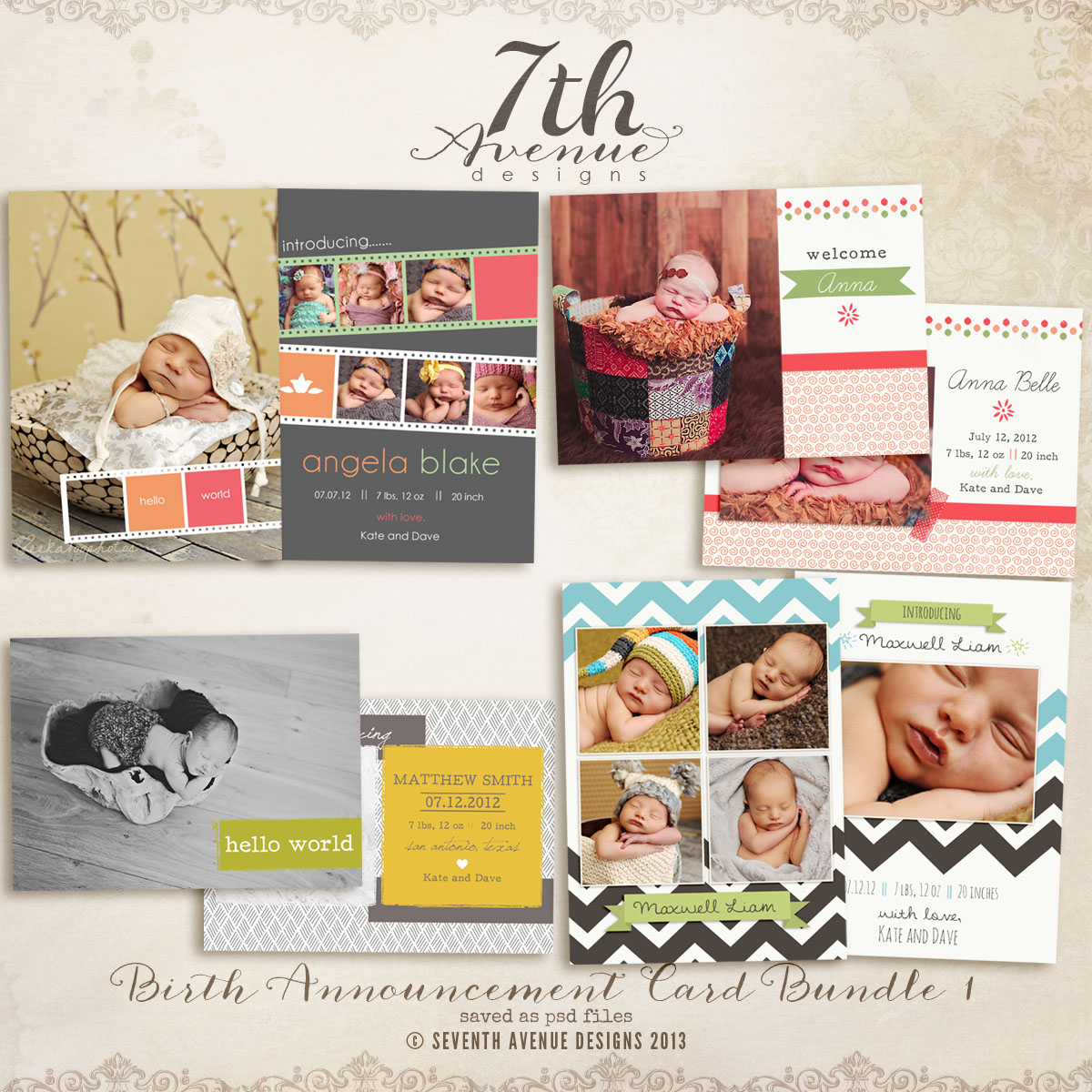 Birth Announcement Card Templates Bundle 1