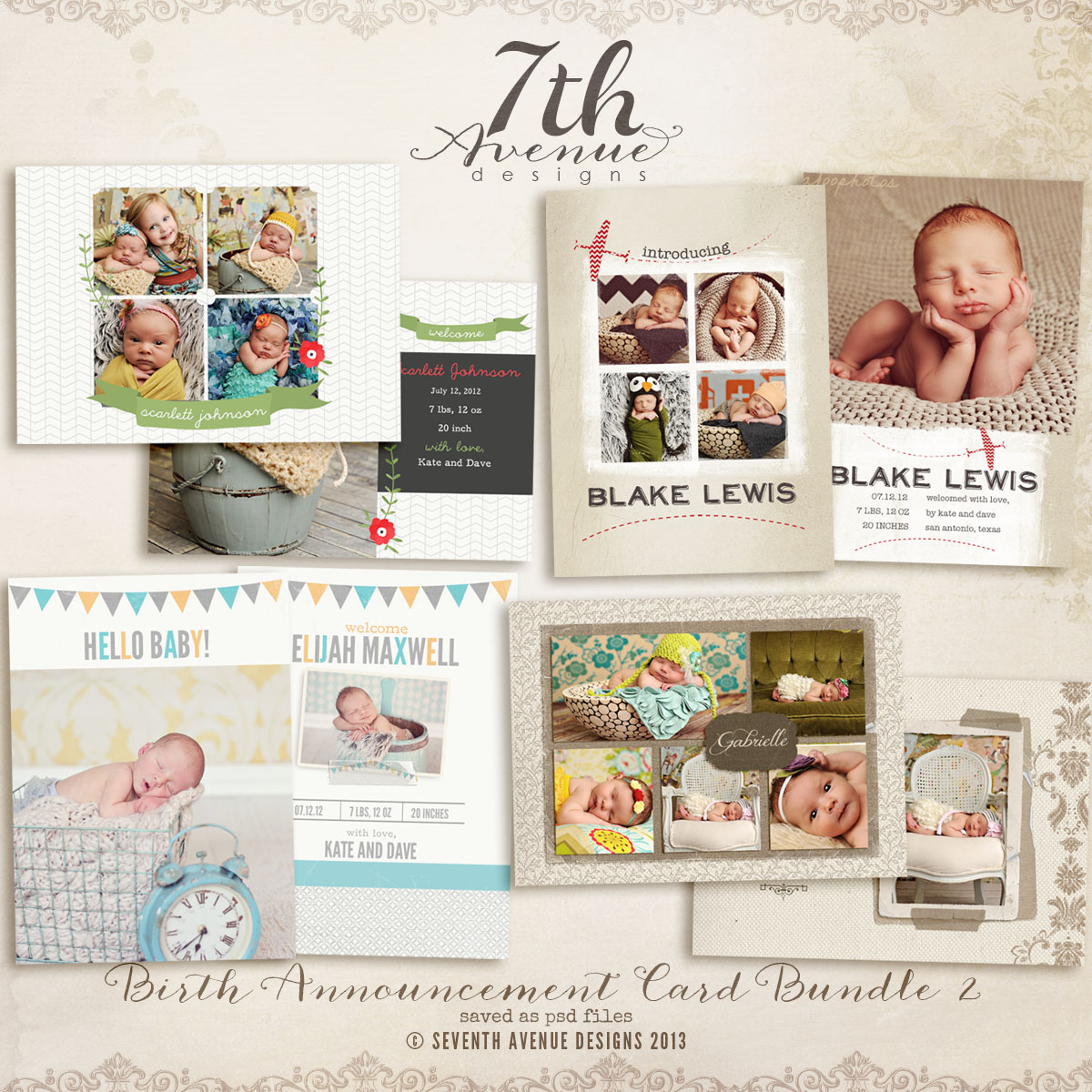 Birth Announcement Card Templates Bundle 2 cardsbacbundle2 – Birth Announcement Card
