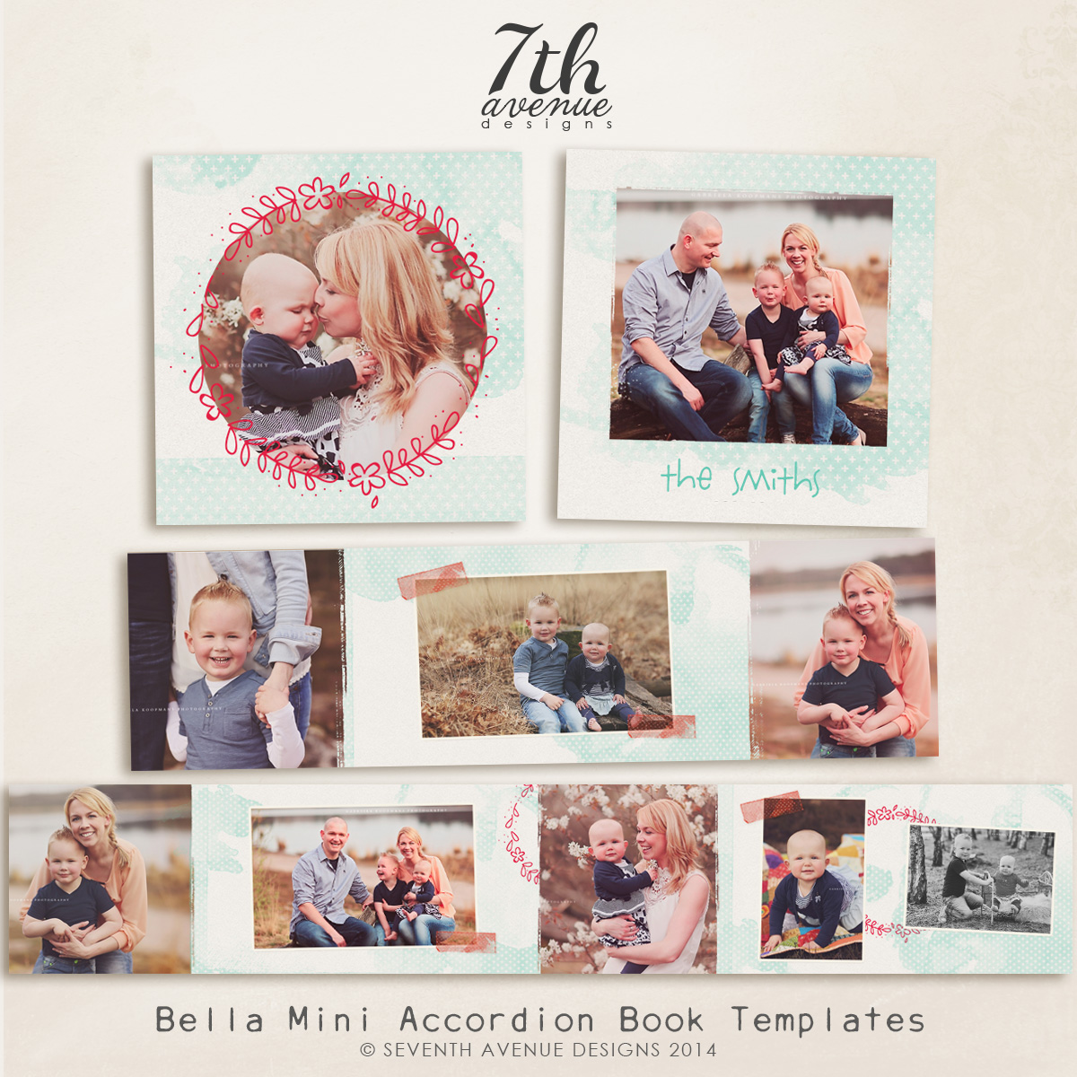 Bella 3x3 Accordion book templates