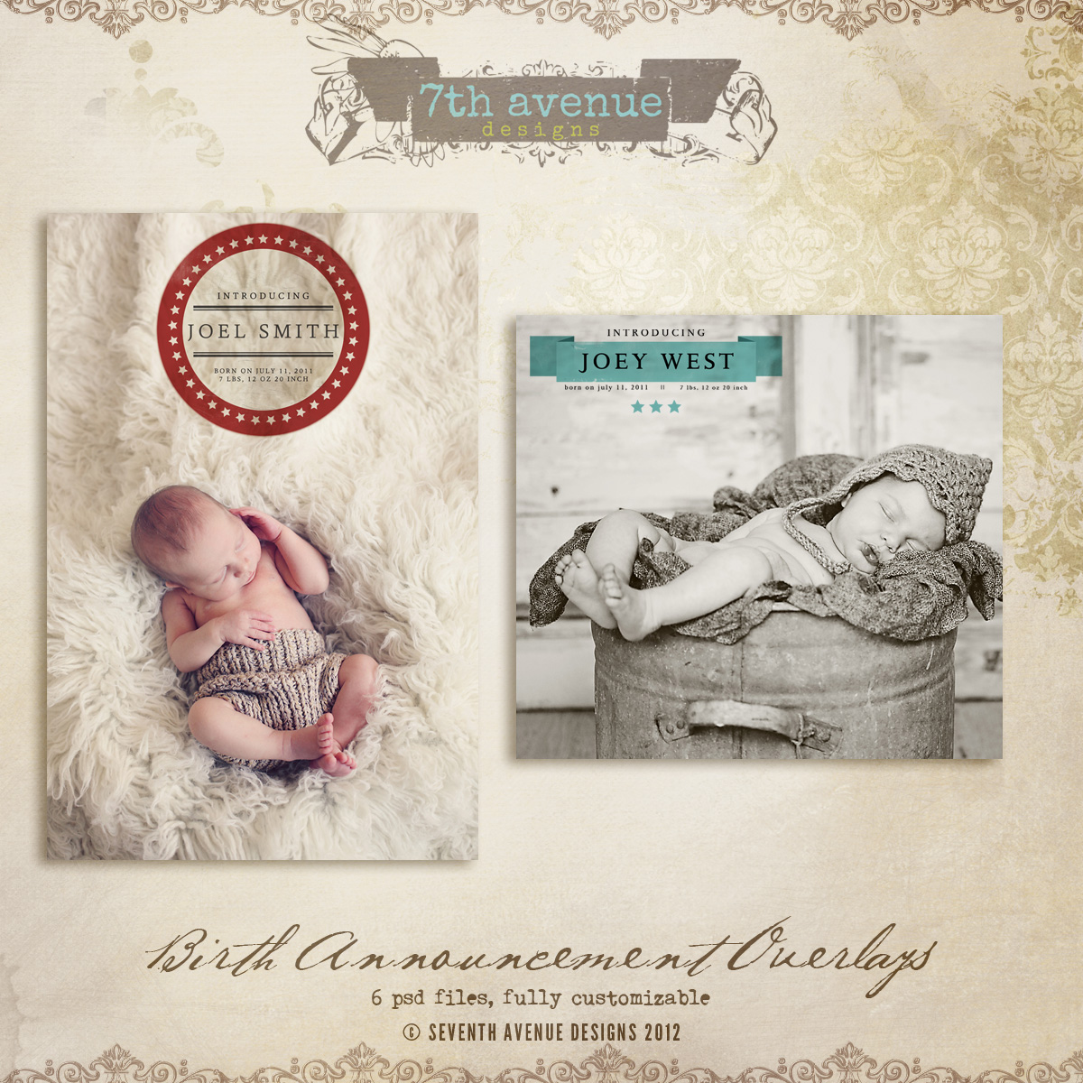 Birth Announcement Overlays vol.1