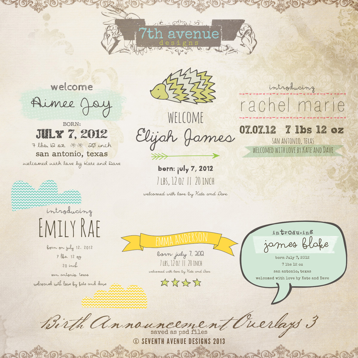 Birth Announcement Overlays vol.3
