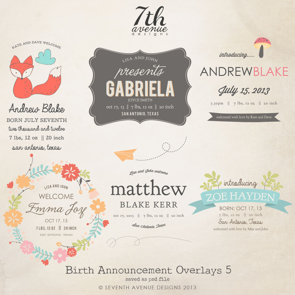 Birth Announcement Overlays vol.5
