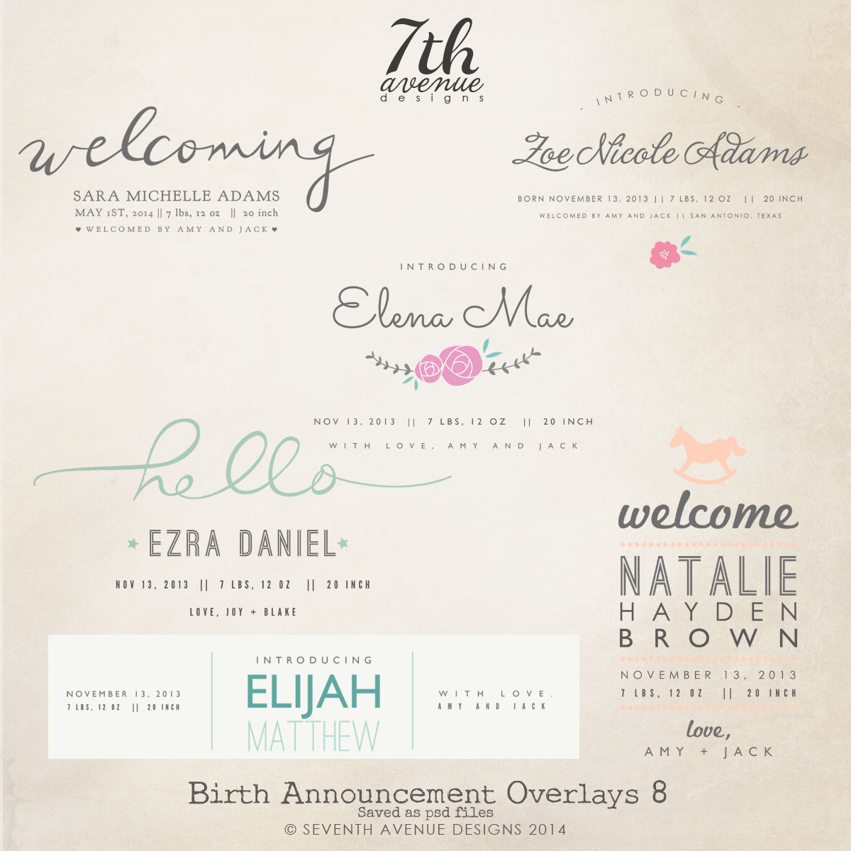 Birth Announcement Overlays vol.8