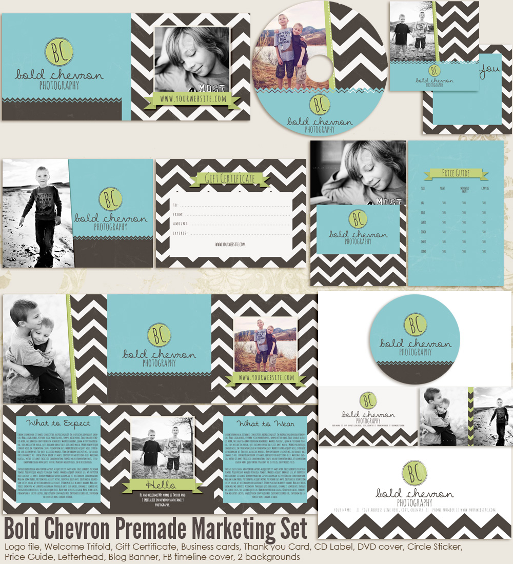 Bold Chevron Premade Marketing Set