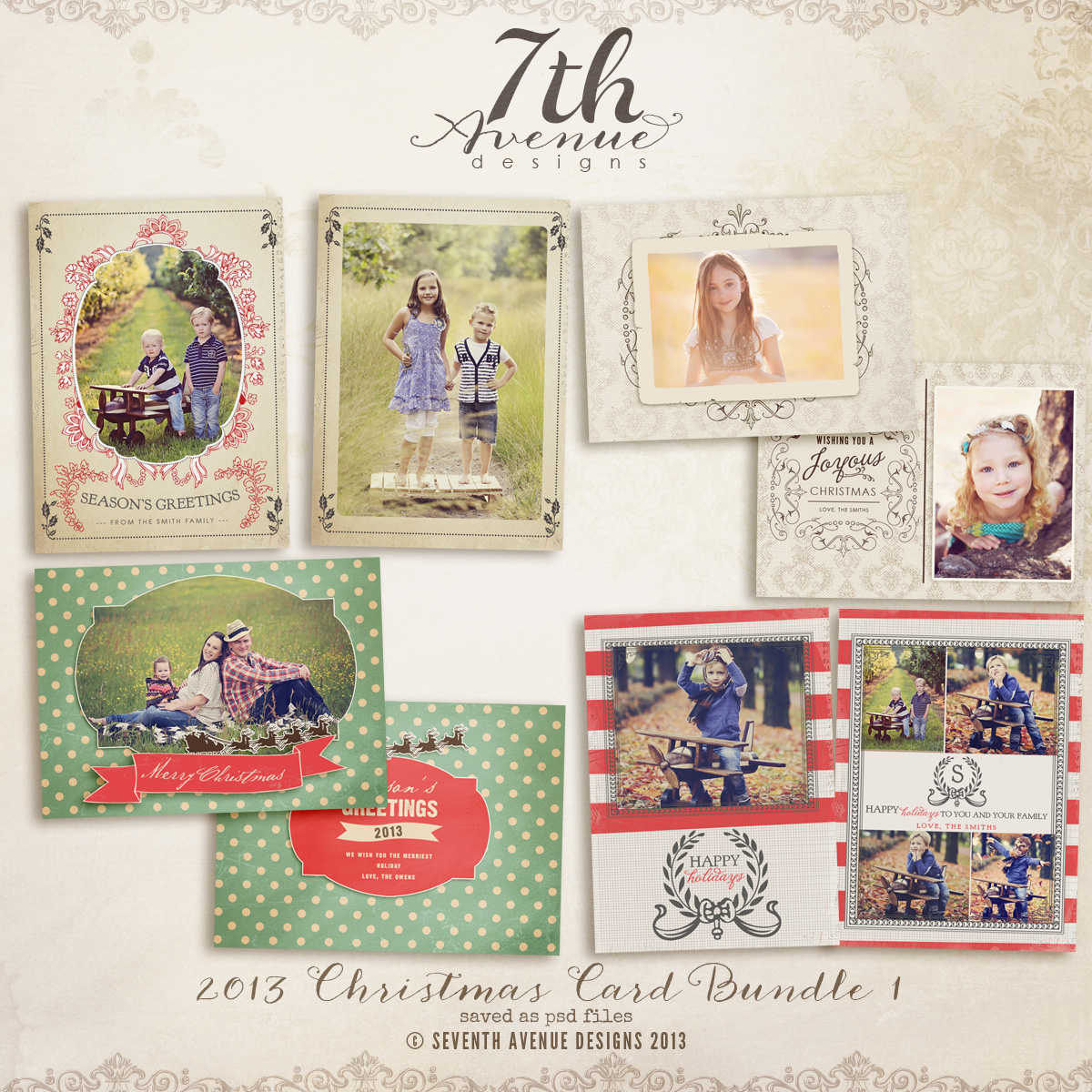 2013 Christmas Card Templates Bundle 1