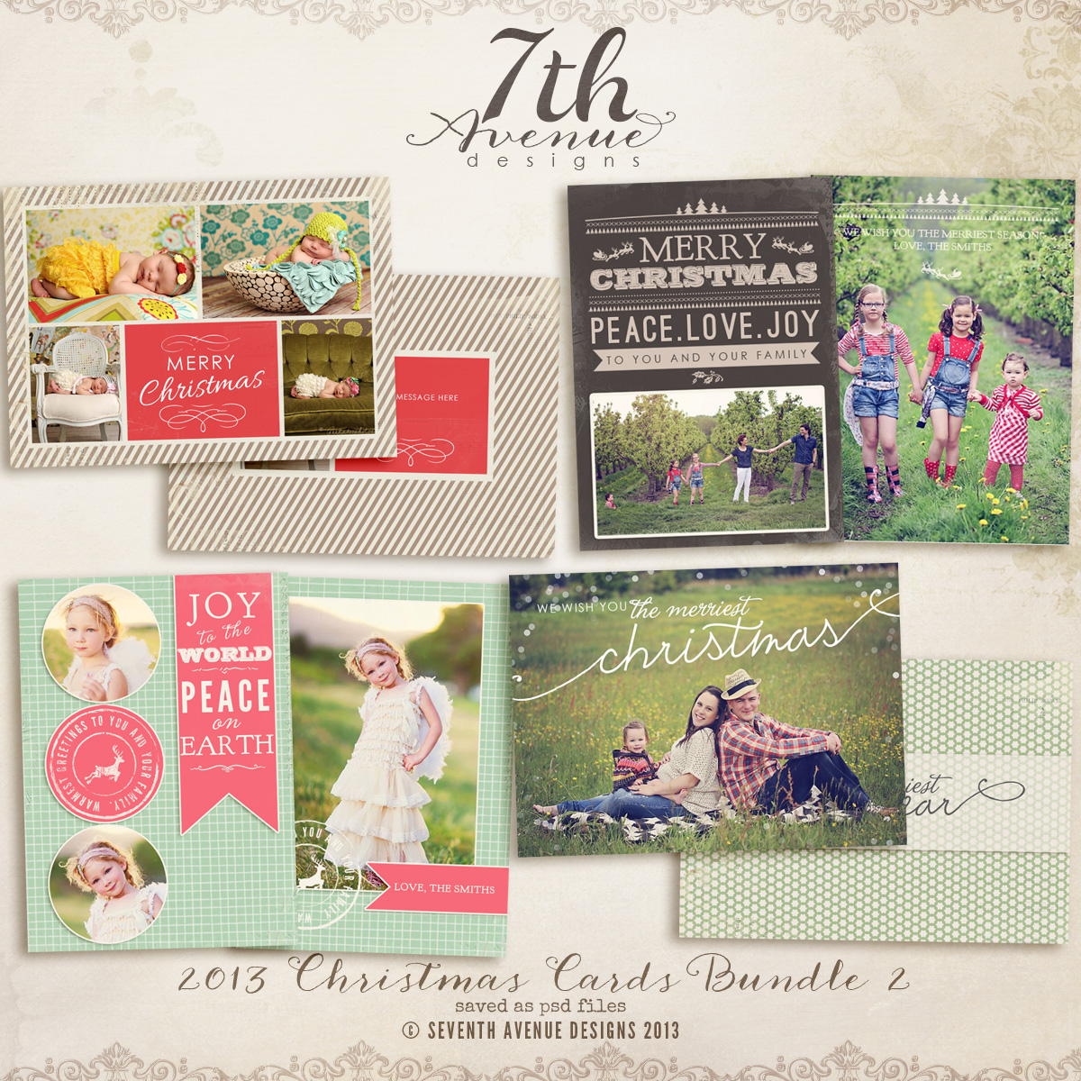 Christmas Card Templates Bundle Ccbundle - Free christmas card templates for photographers