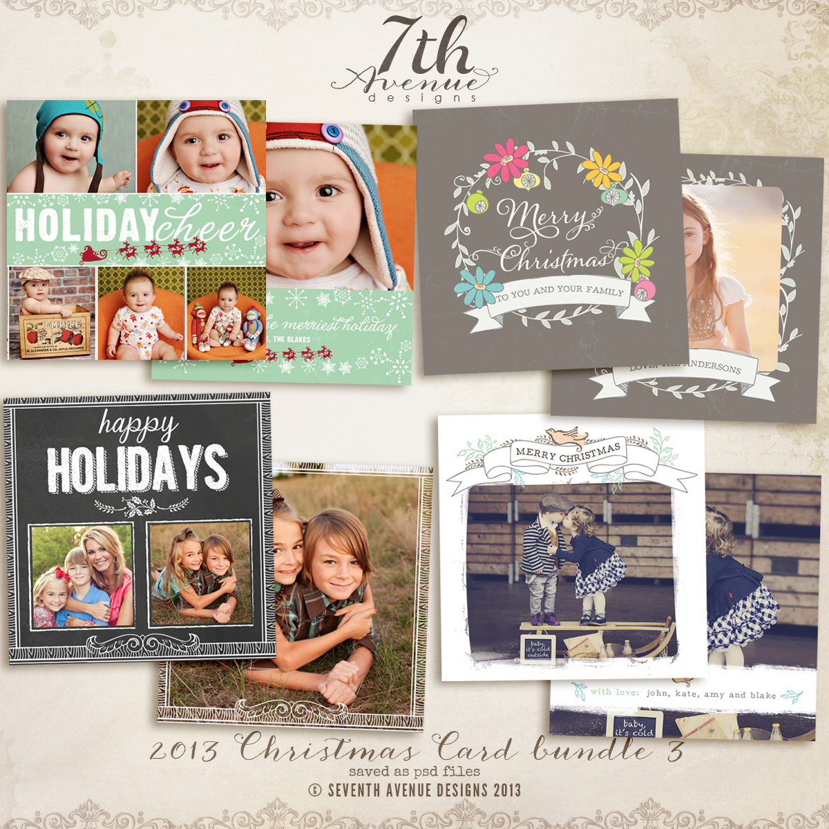 2013 Christmas Card Templates Bundle 3
