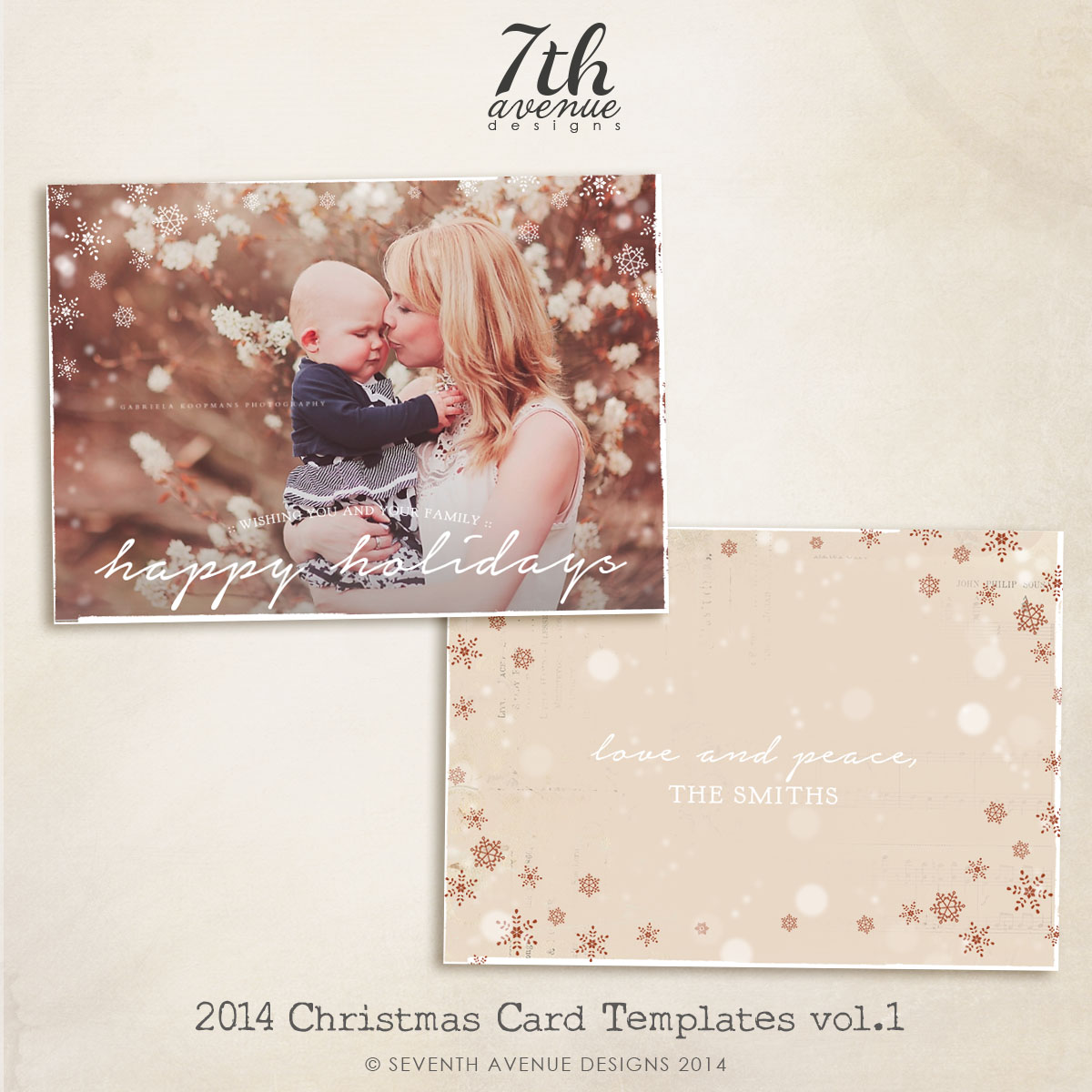 2014 Christmas Card Templates vol.1 -- 7x5 inch card template