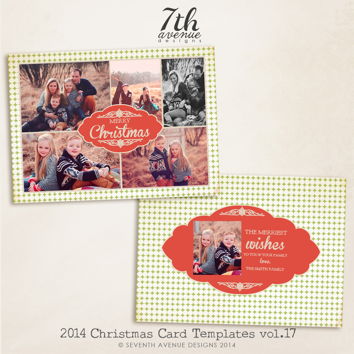 2014 Christmas Card Templates vol.17-- 7x5 inch