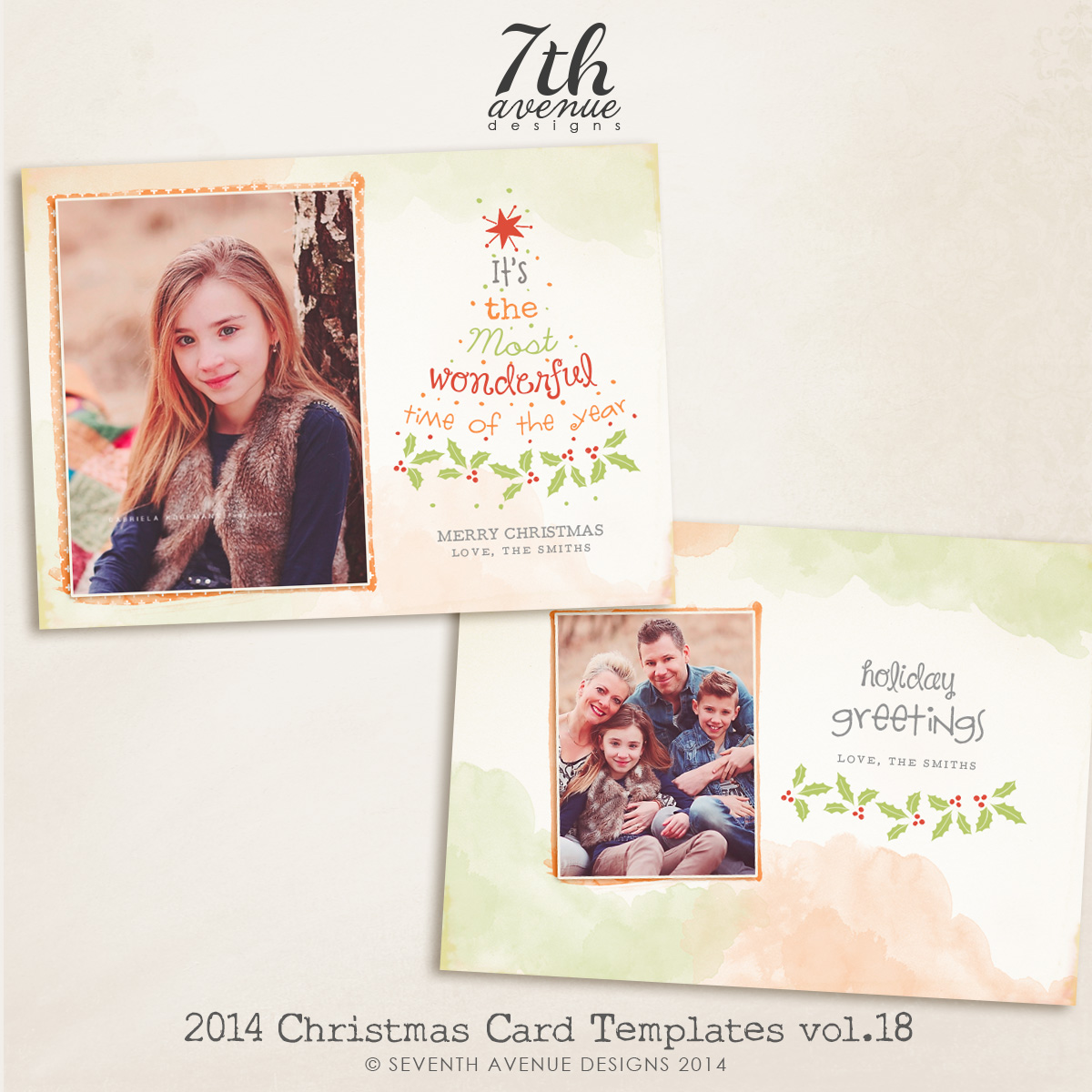 2014 Christmas Card Templates vol.18-- 7x5 inch
