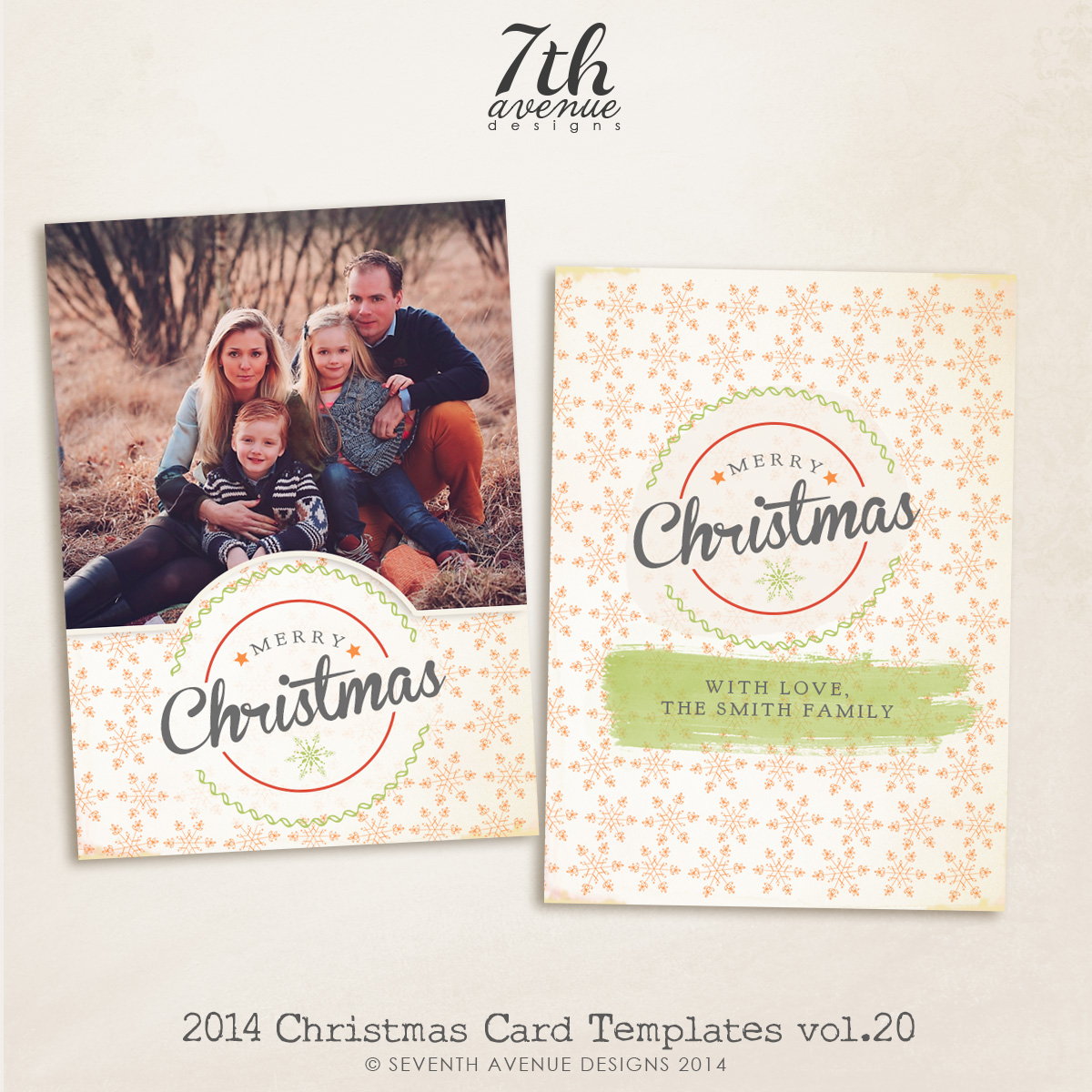 2014 Christmas Card Templates vol.20-- 7x5 inch