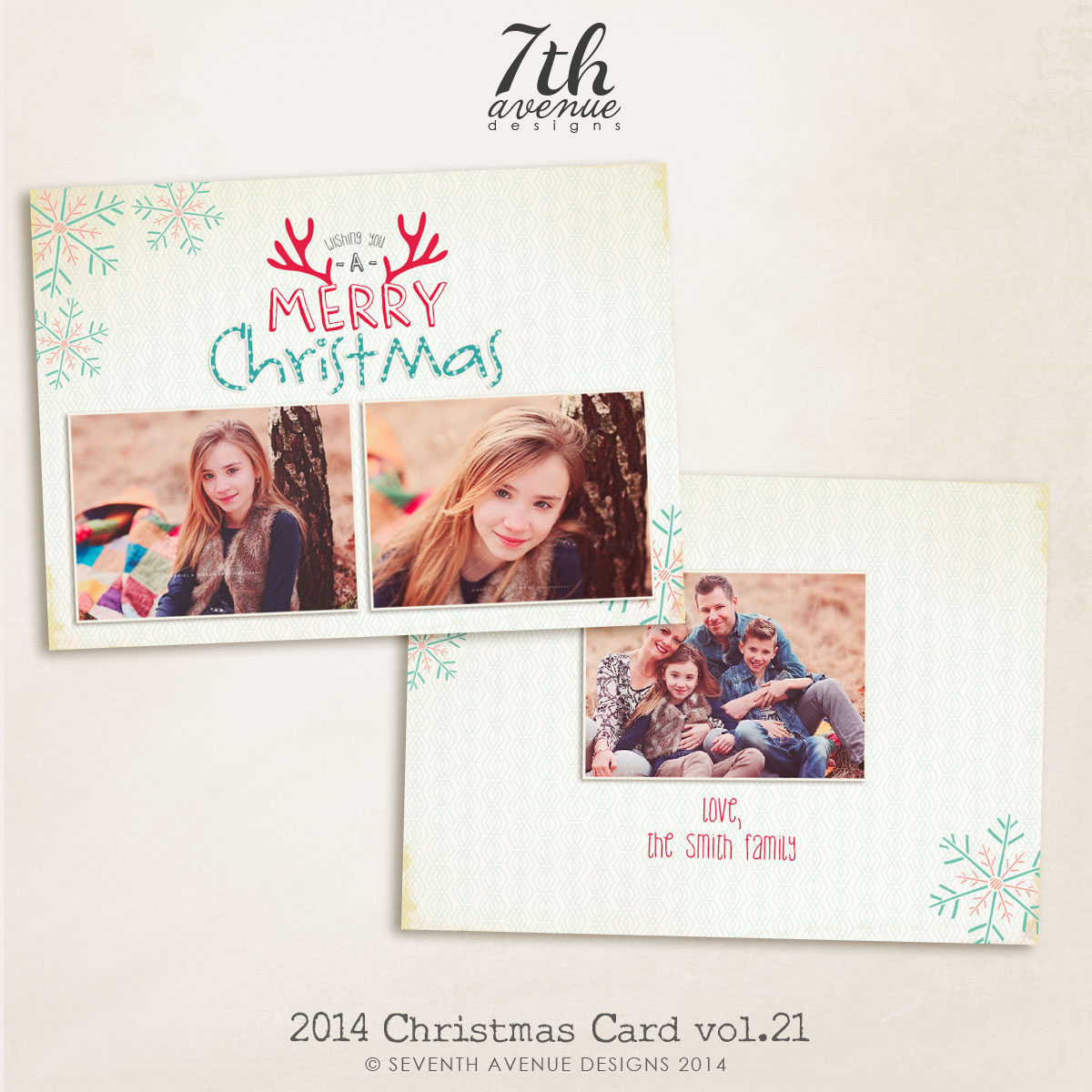 2014 Christmas Card Templates vol.21-- 7x5 inch