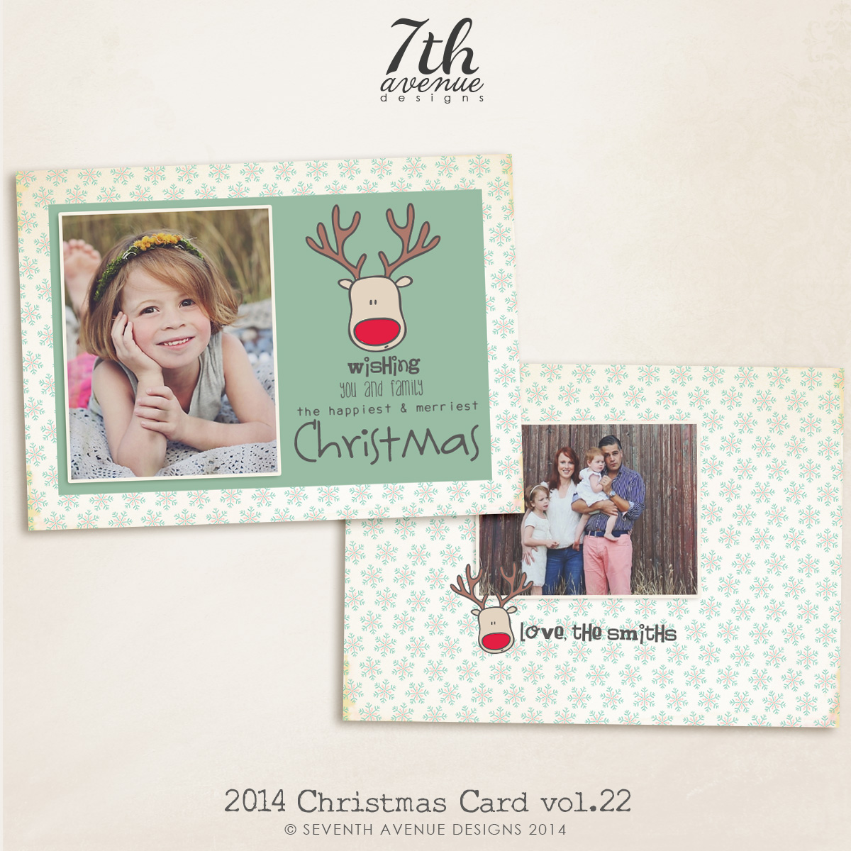 2014 Christmas Card Templates vol.22-- 7x5 inch