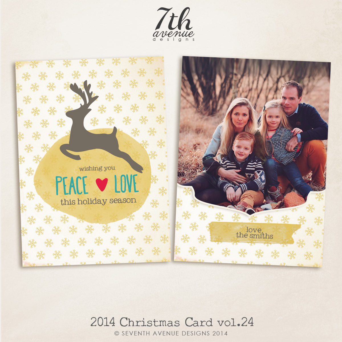 2014 Christmas Card Templates vol.24-- 7x5 inch