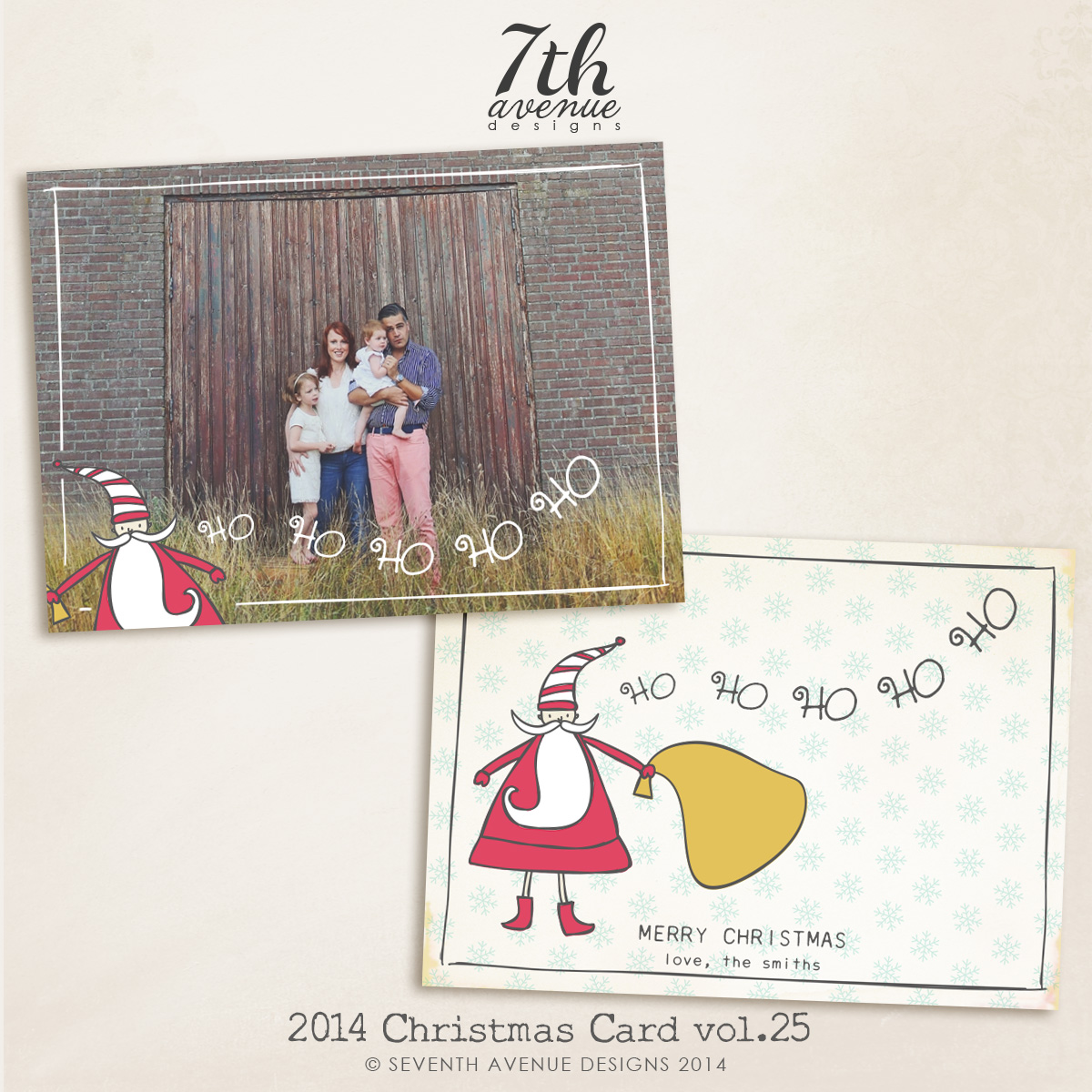 2014 Christmas Card Templates vol.25-- 7x5 inch