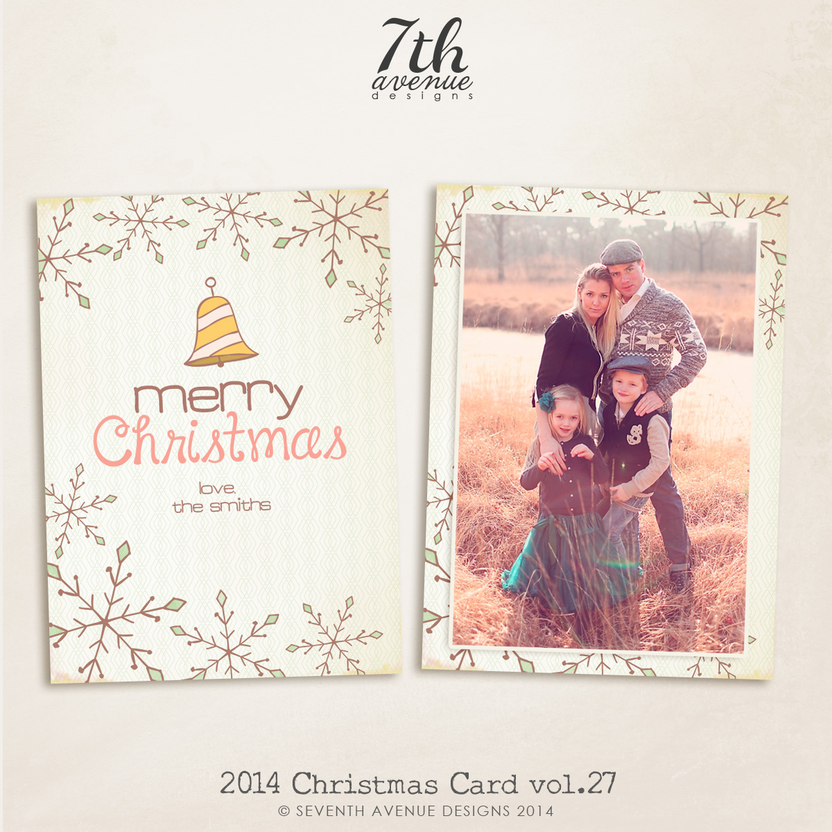 2014 Christmas Card Templates vol.27-- 7x5 inch