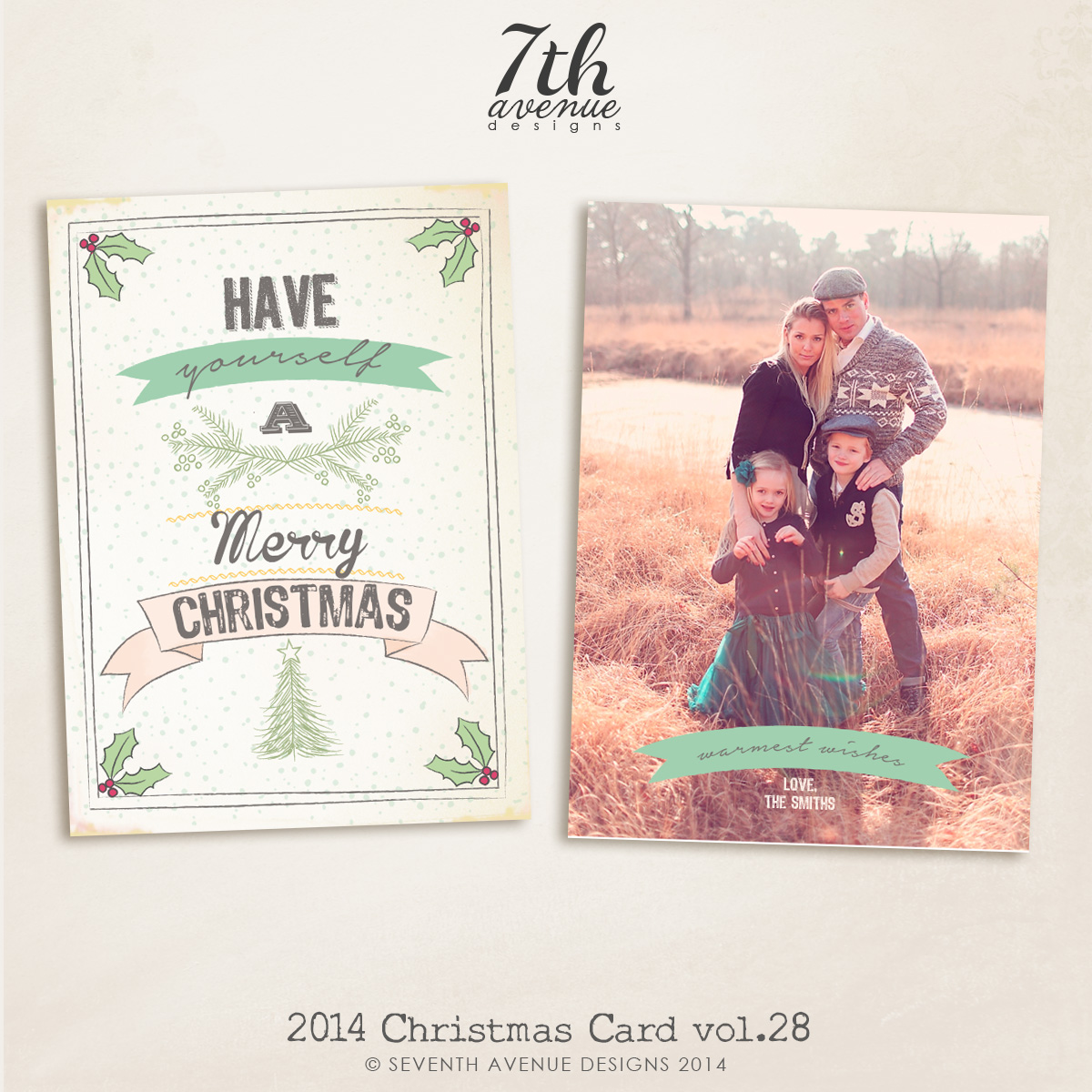 2014 Christmas Card Templates vol.28-- 7x5 inch