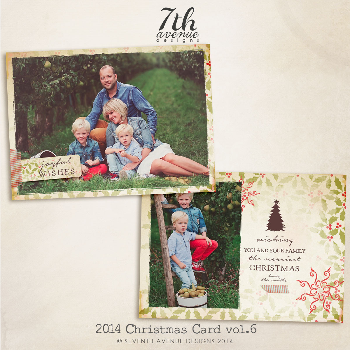 2014 Christmas Card Templates vol.6 -- 7x5 inch card template