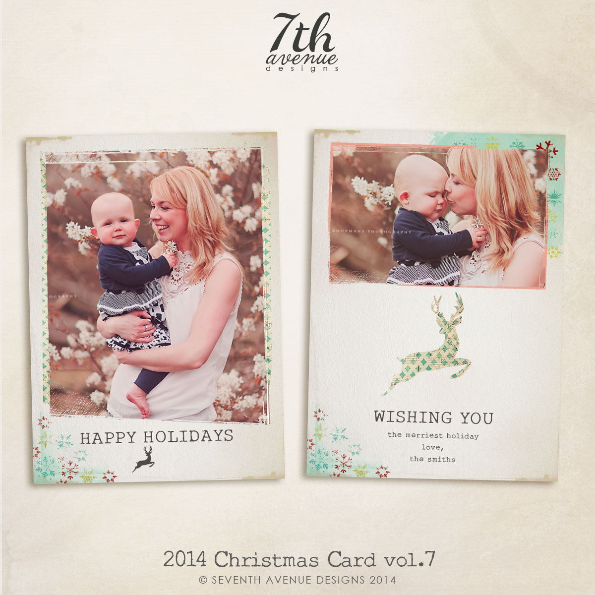 2014 Christmas Card Templates vol.7 -- 7x5 inch card template