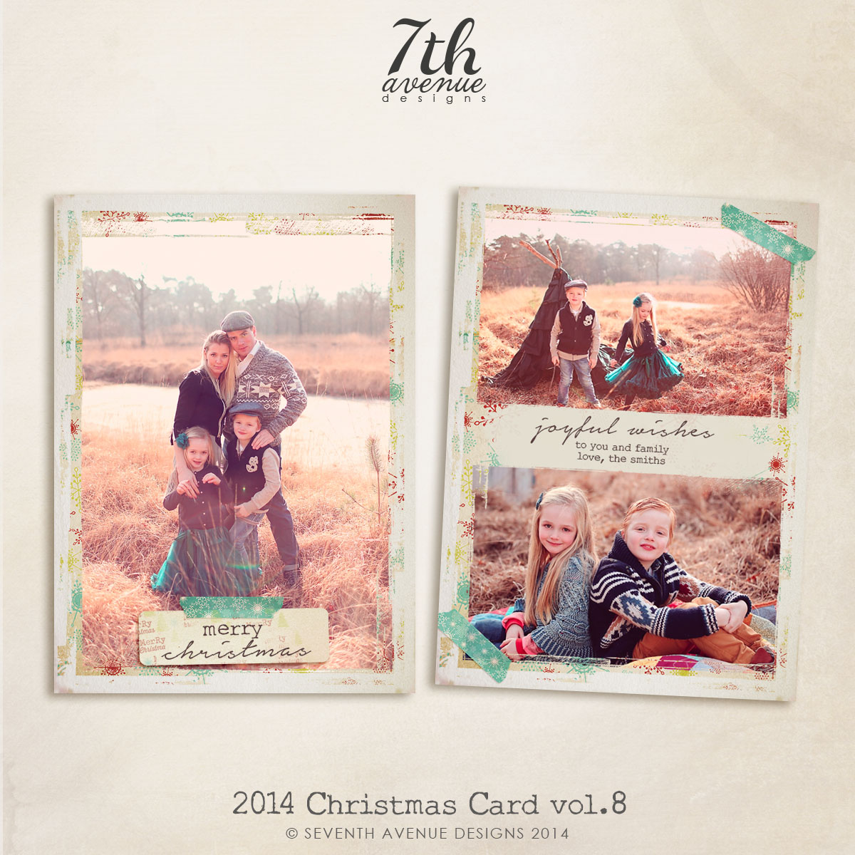 2014 Christmas Card Templates vol.8 -- 7x5 inch card template [cc14 ...