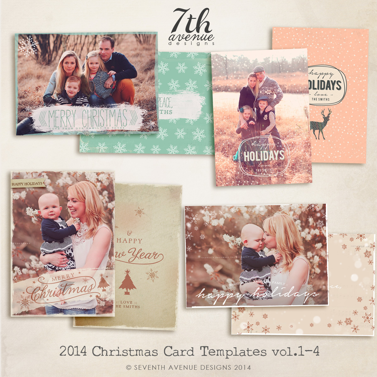 2014 Christmas Card Templates Bundle 1 -- 7x5 inch card template