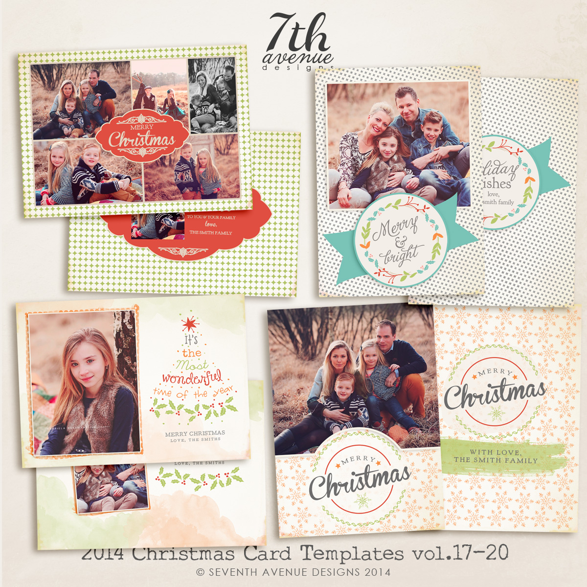 2014 Christmas Card Templates Bundle 4 -- 7x5 inch card template