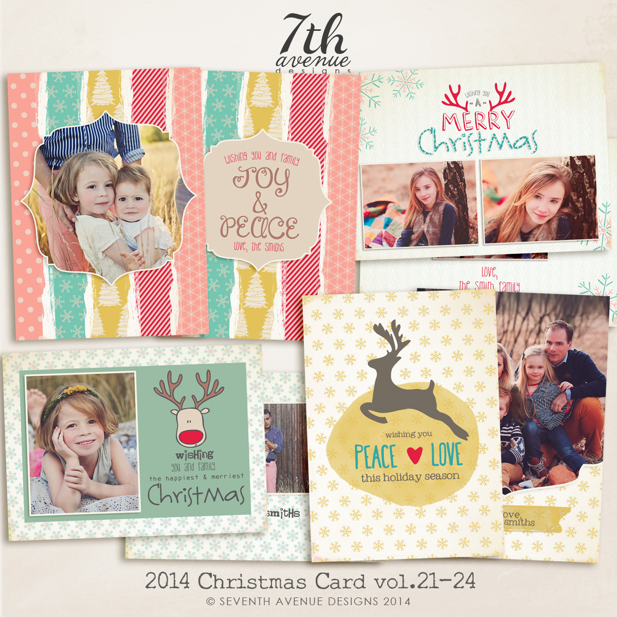 2014 Christmas Card Templates Bundle 5 -- 7x5 inch card template