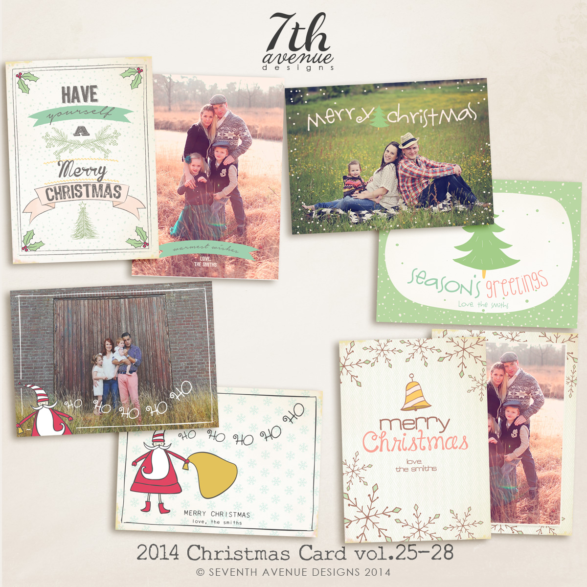 2014 Christmas Card Templates Bundle 6 -- 7x5 inch card template