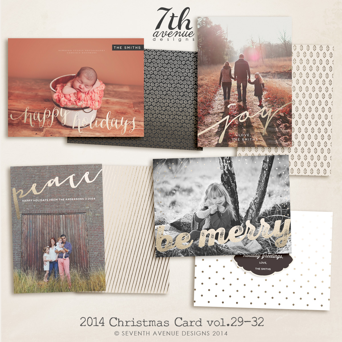 2014 Christmas Card Templates Bundle 7 -- 7x5 inch card template