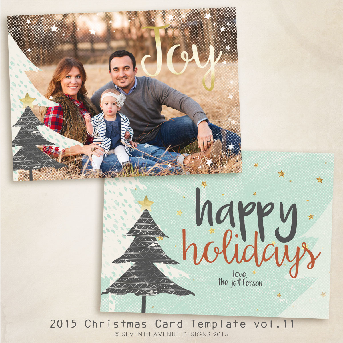 2015 Christmas Card Templates vol.11 -- 7x5 inch card template