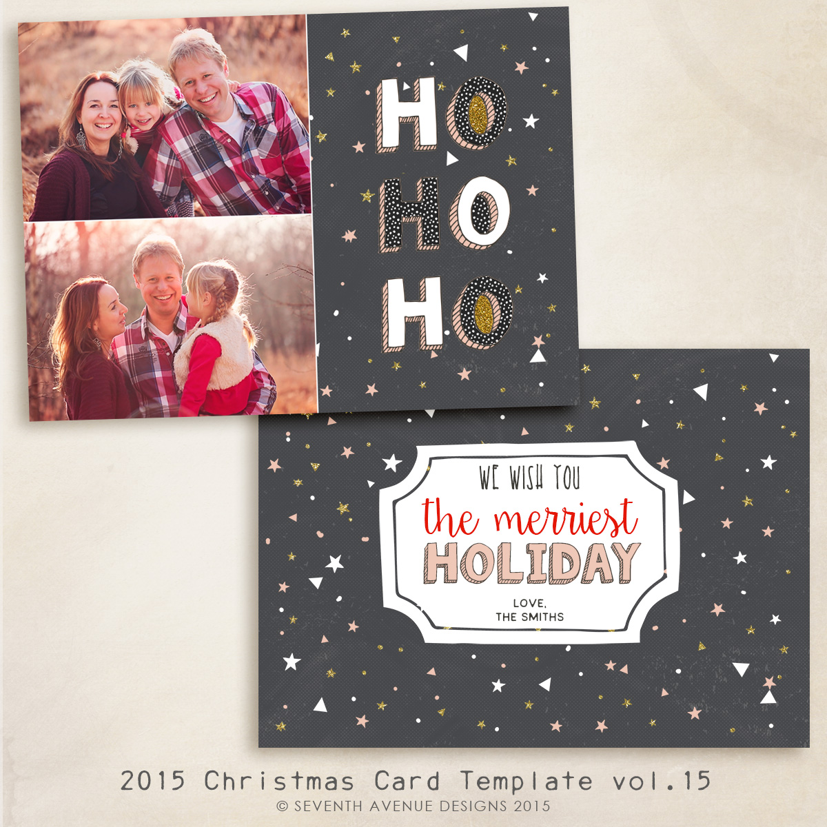 2015 Christmas Card Templates vol.15 -- 7x5 inch card template