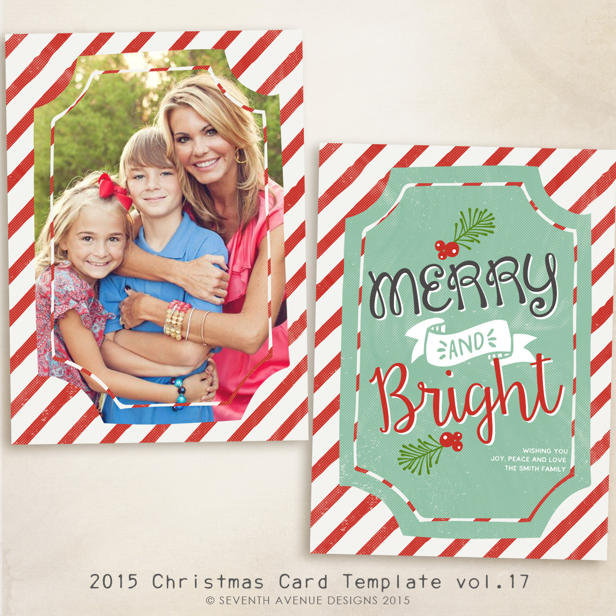 2015 Christmas Card Templates vol.17 -- 7x5 inch card template