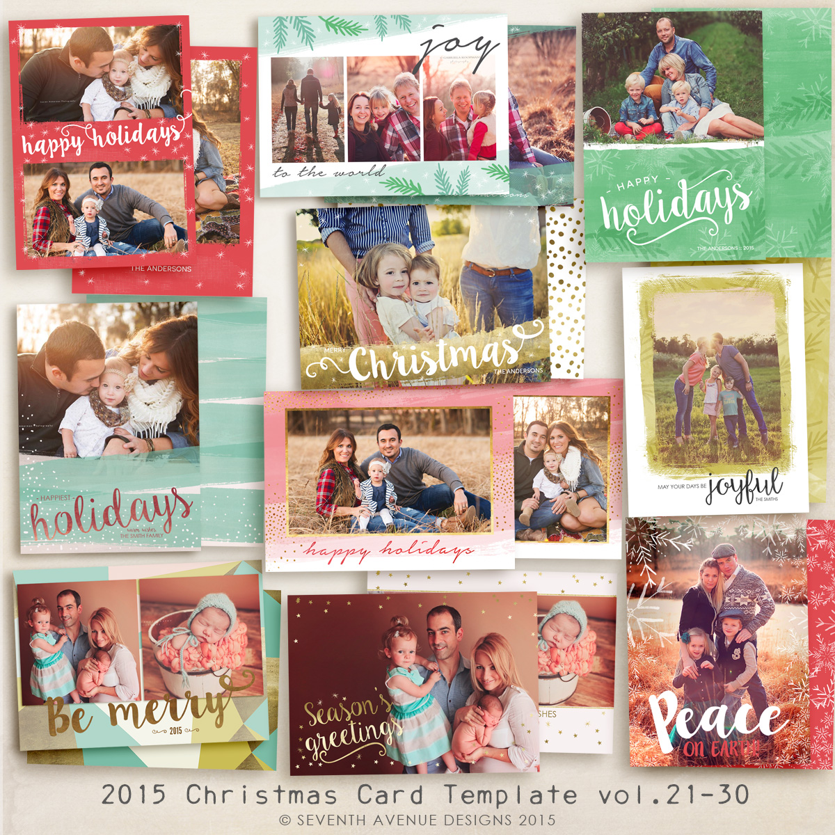 2015 Christmas Card Templates vol.21-30