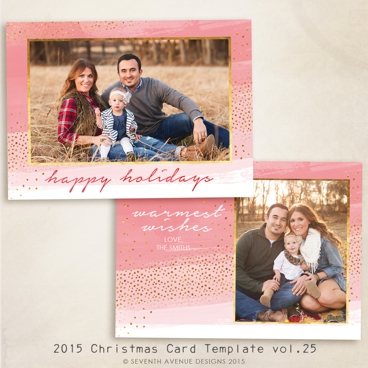 2015 Christmas Card Templates vol.25 -- 7x5 inch card template