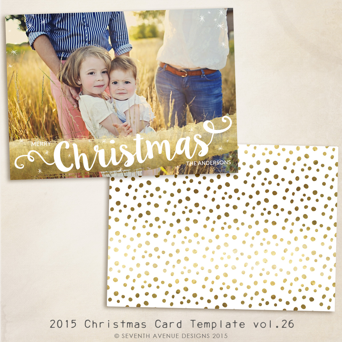 2015 Christmas Card Templates vol.26 -- 7x5 inch card template