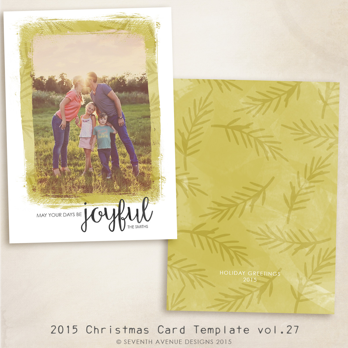 2015 Christmas Card Templates vol.27 -- 7x5 inch card template