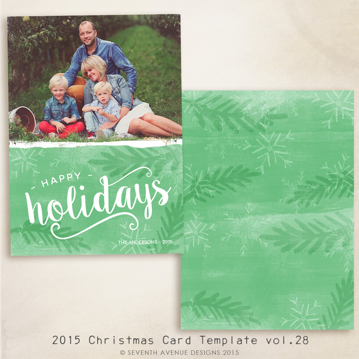 2015 Christmas Card Templates vol.28 -- 7x5 inch card template