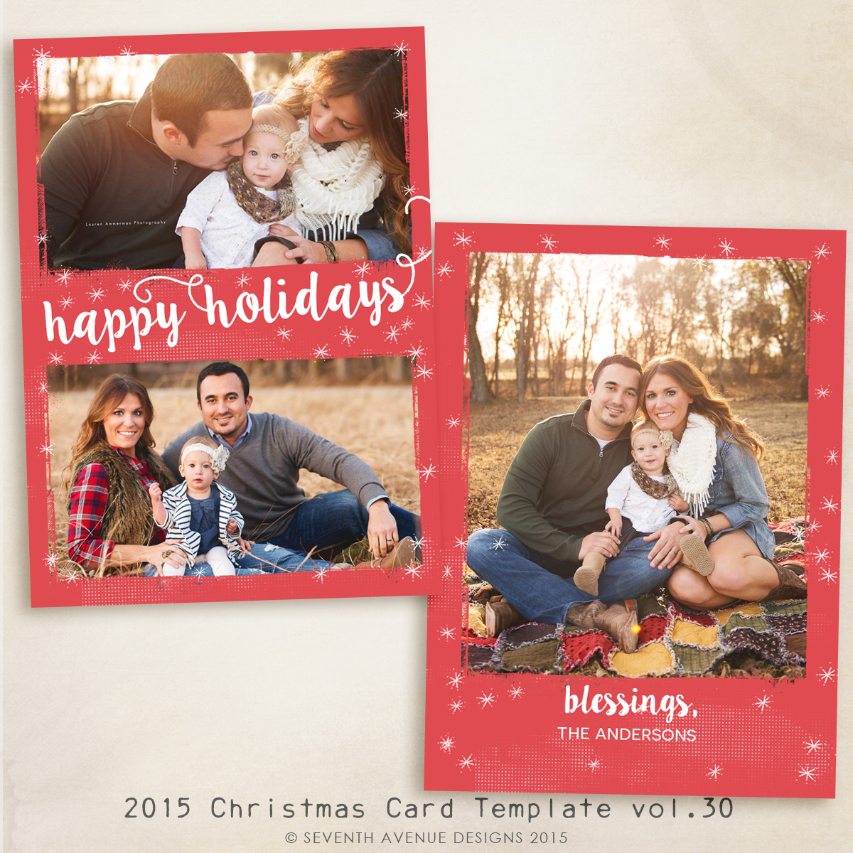 2015 Christmas Card Templates vol.30 -- 7x5 inch card template